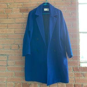 Oversized Royal Blue Fleece Peacoat Size S